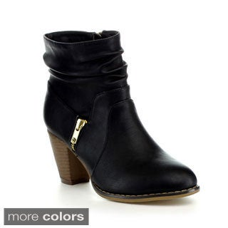 ANNA MEL-10 Women's Slouch Chunky Heel Ankle Booties