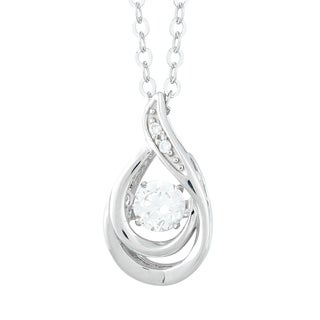 La Preciosa Sterling Silver Cubic Zirconia Teardrop Dancing Pendant