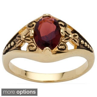 PalmBeach 18k Gold Overlay Simulated Birthstone Filigree Ring Color Fun