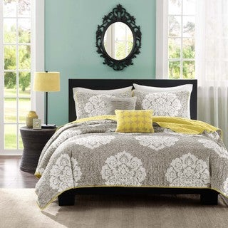Intelligent Design Ciara Grey 5-piece Damask Coverlet Set