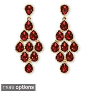 PalmBeach Pear-cut Crystal Birthstone Chandelier Earrings Color Fun