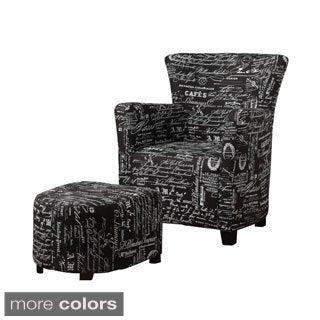 Alicia Fabric Club Chair with Ottoman
