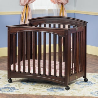 Child Craft Stanford Mini Folding Crib and Mattress in Cherry