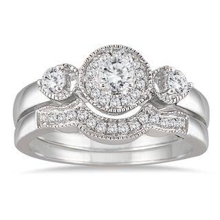10k White Gold 1/2ct TDW Antique Diamond Bridal Ring Set (I-J, I1-I2)