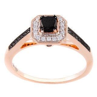 Beverly Hills Charm 14k Rose Gold 3/5ct TDW Black and White Engagement Diamond Ring (H-I, SI2-I1)