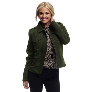 Women's Olive Green Cropped Military Jacket