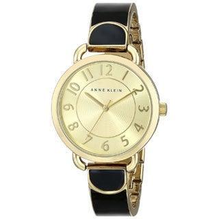 Anne Klein Women's AK-1606BKGB Black and Goldtone Watch