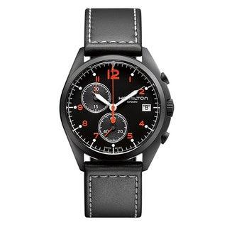 Hamilton Men's H76582733 Pilot Pioneer Black Chronograph Watch