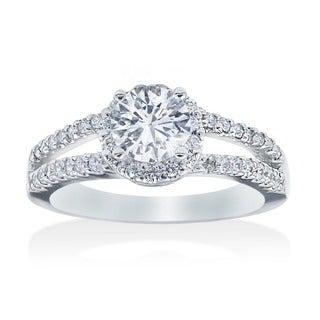 Bliss 14k White Gold 1ct TDW Diamond Halo Engagement Ring (G-H, I2-I3)