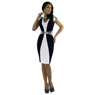 Kayla Vol.2 Women's Navy and Silver Colorblocked Cocktail Dress