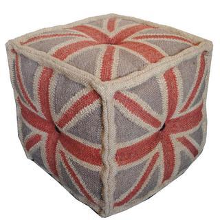 Herat Oriental Indo Kilim Upholstered Puff Ottoman