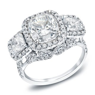 Auriya 18k White Gold 5ct TDW Certified Cushion Cut Diamond Ring (I, VS2)