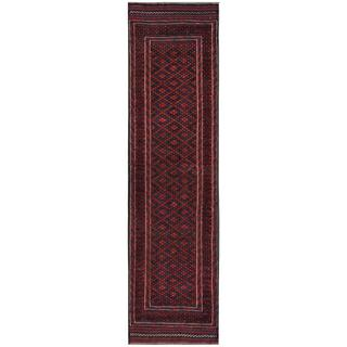 Herat Oriental Afghan Hand-knotted Tribal Balouchi Red/ Navy Wool Runner (1'10 x 8'7)