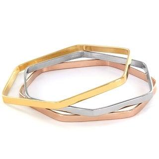 Elya Tri-Color Hexagon Bangle Bracelet Set (Set of 3)
