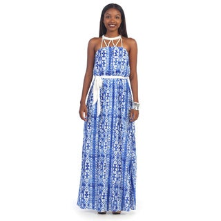 Hadari Women's White and Blue Tribal Print Halter Maxi Dress