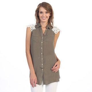 Hadari Women's Olive Crochet Shouler Sleevless Top