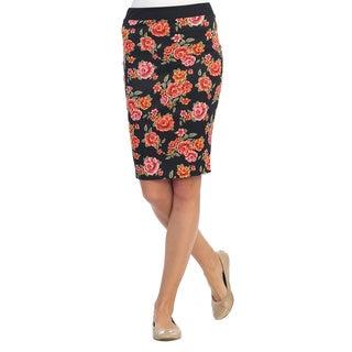 Hadari Women's Black Floral Pencil Skirt