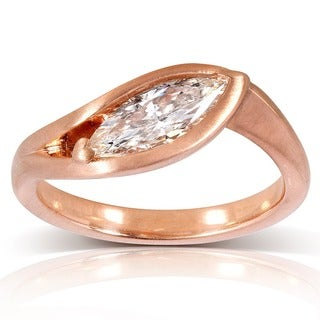 Annello 14k Rose Gold 1ct TDW Certified Marquise Diamond Ring (F-G, VS)