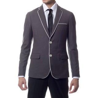 Zonettie by Ferrecci Men's Slim Fit Grey Knit Traveler Blazer Jacket