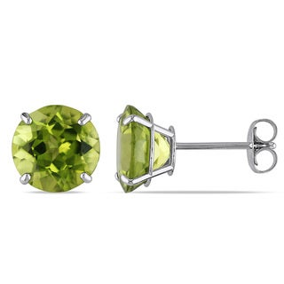 Miadora 14k White Gold 4ct TGW Peridot Solitaire Earrings