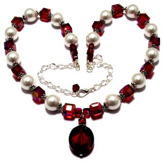Siam Red Crystals and White Glass Pearl 4-piece Jewelry Set