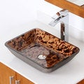 ELITE 1409 Rectangle Artistic Bronze Tempered Glass Bathroom Vessel Sink