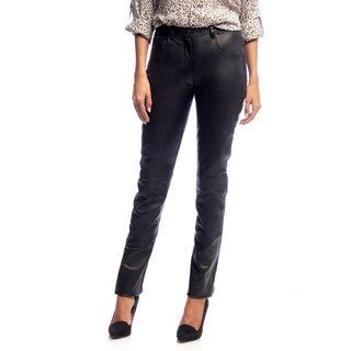 NDK New York Women's Lambskin Leather High-waist Pants