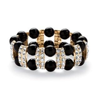 PalmBeach Black Beaded and Crystal Bracelet Bold Fashion