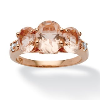 PalmBeach Gold over Silver 1/4ct TGW Cubic Zirconia Simulated Morganite Ring Bold Fashion
