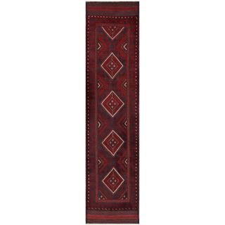 Herat Oriental Semi-antique Hand-knotted Tribal Balouchi Navy/ Red Wool Rug (2' x 8'10)