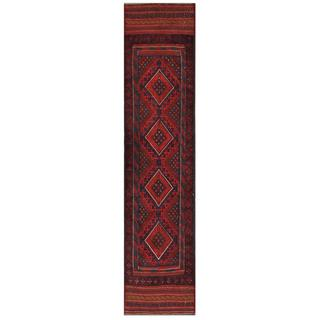 Herat Oriental Semi-antique Hand-knotted Tribal Balouchi Red/ Navy Wool Rug (1'10 x 8'7)