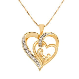14k Gold over Sterling Silver Double Heart Pendant of mother and child