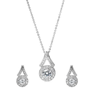 Journee Collection Brass Cubic Zirconia Jewelry Set