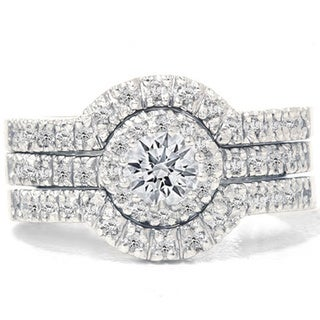 Bliss 14k White Gold 1 1/4ct TDW Diamond Halo Bridal Ring Set (G-H, I1-I2)