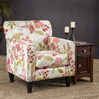 Christopher Knight Home Eli Print Cream Fabric Track Arm Accent Club Chair