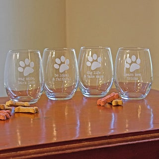 Dog Wisdom 21-ounce Stemless Wine Glasses (Set of 4)