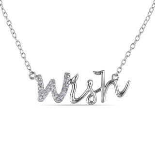 Haylee Jewels Sterling Silver Diamond 'Wish' Word Necklace