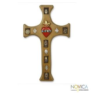Handcrafted Pinewood 'Sacred Faith' Cross (Mexico)