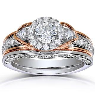 Annello 14k 2-tone Gold 1ct TDW Round-cut Halo Art Deco Diamond Bridal Set (H-I, I1-I2)