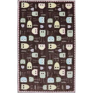 American Rug Craftsmen Crib 2 College Baby Owls Brown Rug (5' x 8')