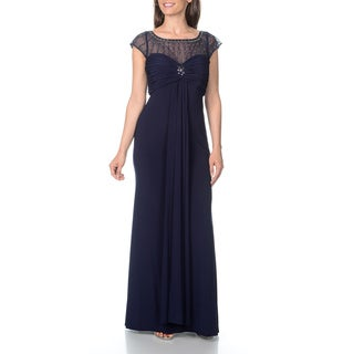 Patra Women's Sheer Inset Neckline with Beaded Embellishment Evening Gown