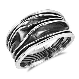 Tranquil Ocean Waves Oxidized .925 Sterling Silver Ring (Thailand)