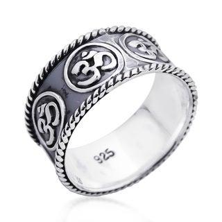 Encompassed Aum or Ohm Symbol Band .925 Silver Ring (Thailand)