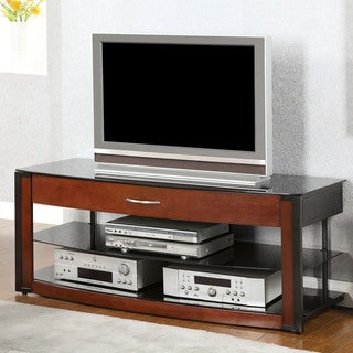 Furniture of America Trenise Cherry and Black 1-Drawer TV Console