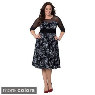 Kiyonna Women's Plus Twirl and Swirl Cocktail Dress