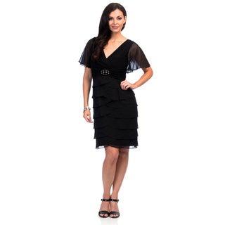 Jessica Howard Women's Black Flutter Sleeve Surplus Bodice Cocktail Dress