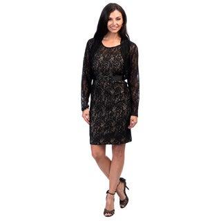 Jessica Howard 2-piece 3/4-sleeve Bolero and Sleeveless Rosette Dress