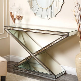 ABBYSON LIVING Cosmo X-shaped Mirrored Console Table
