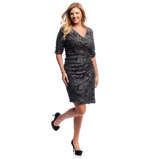 Alex Evenings Women's Plus Size Black and Silver Ruched Cocktail Dress