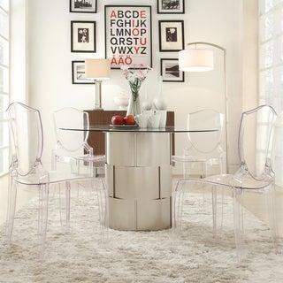 INSPIRE Q Elbridge Woven Drum Glass Dining Table